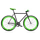 MOWHEEL Bicicleta Fix Black and Green. Monomarcha Fixie/Single Speed. Talla 56 …