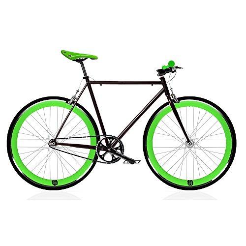 MOWHEEL Bicicleta Fix Black and Green. Monomarcha Fixie/Single Speed. Talla 56 …