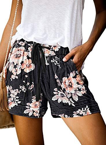 GOLDPKF Sommer-Schlafanzughose Damen Kurz Pyjamahose Sporthose Kurz Sommer High Waist Kurze Hosen Nachtwäsche Shorts Baumwolle mit Taschen Blumenmuster Schwarz L 42