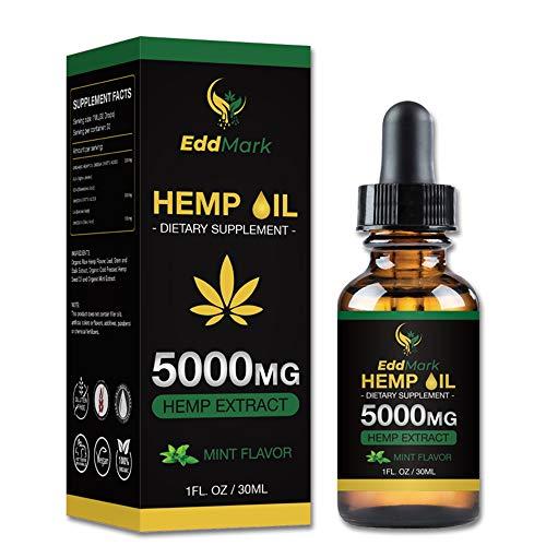 Hemp Oil Dietary Supplement for Pain Relief and Anxiety-5000mg Hemp Oil Extract with Mint Flavor –30Ml All-Natural Organic Hemp Drops – Can Improve Sleep, Skin–Anti-Inflammatory Properties
