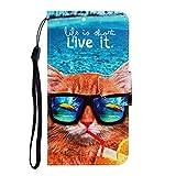 Nadoli für Huawei P Smart 2019 Hülle,Lustig Katze Muster PU Leder Magnetisch Flip Brieftasche mit Handschlaufe Kartenslot Ständer Klapphülle für Huawei P Smart 2019