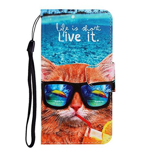 Nadoli Galaxy A11 Hülle,Lustig Katze Muster PU Leder Magnetisch Flip Brieftasche mit Handschlaufe Kartenslot Ständer Klapphülle für Samsung Galaxy A11