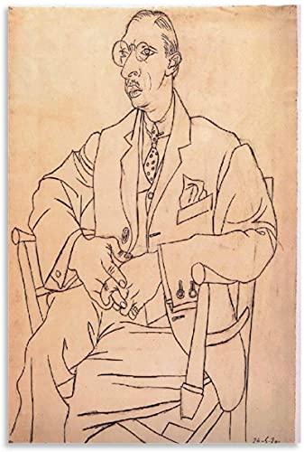 YaShengZhuangShi Impresión en Lienzo 50x70cm Sin Marco Pablo Picasso Retrato de Igor Stravinsky 1920 Póster Lienzo Arte de la Pared Carteles de la Sala de Estar Pintura del Dormitorio