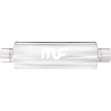 MagnaFlow 4in x 4in Round Center/Center Performance Muffler Exhaust 14419 - Straight-Through, 3in Inlet/Outlet Diameter, 20in Overall Length, Polished Finish - Deep Powerful Exhaust Sound
