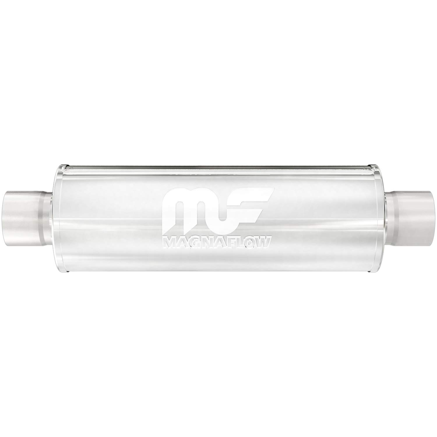 MagnaFlow 4in Round Center/Center Performance Muffler Exhaust 10416 - Straight-Through, 2.5in Inlet/Outlet, 14in Body Length, 20in Overall Length, Satin Finish - Classic Deep Exhaust Sound