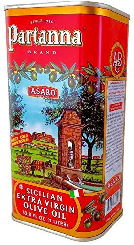 Partanna Extra Virgin Olive Oil - 33.8-Ounce Tin - Real Sicilian Extra Virgin Olive Oil (EVOO) -...