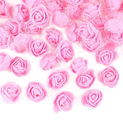 VINFUTUR 200 Stücke Mini Schaumrosen Künstliche Rosenköpfe mit Tülldeko Foamrosen Kunstblumen Rosenköpfe für Basteln Valentinstag Hochzeit Party Home Deko
