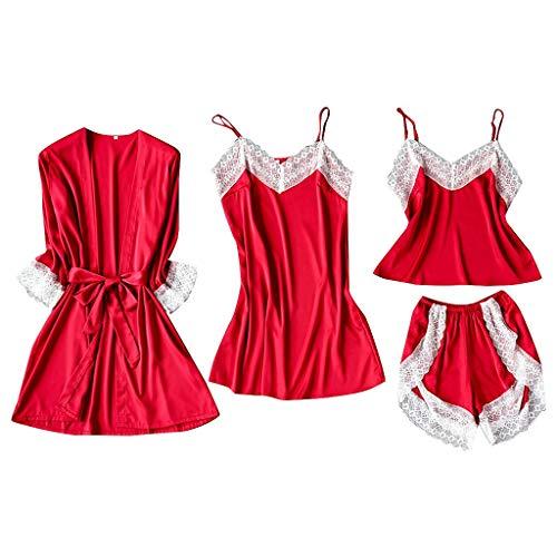 Nachtwäsche Set Satin Silk Pyjamas Cardigan Nachthemd Bademantel Camisole Shorts Damen Roben Unterwäsche, Rot, Small