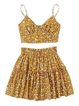 SweatyRocks Women s 2 Piece Spaghetti Strap Floral Crop Cami Top with Skirt Set Yellow M
