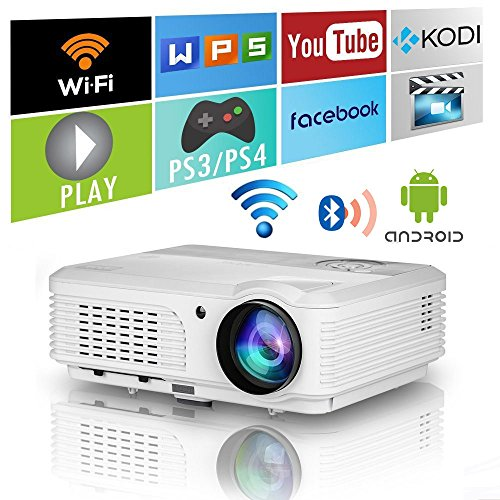 Bluetooth Video Projectors Wifi Wxga LCD Wireless Smart Projector Home Theater Movie Indoor Outdoor 4400 Lumens 1080P Compatible with HDMI USB VGA AV Audio Out for Phone TV DVD Game Consoles