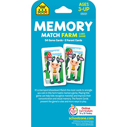 5146Yv+T7cL - School Zone - Memory Match Farm Card Game - Ages 3+, Preschool to Kindergarten, Animals, Early Reading, Counting, Matching, Vocabulary, and More (School Zone Game Card Series)