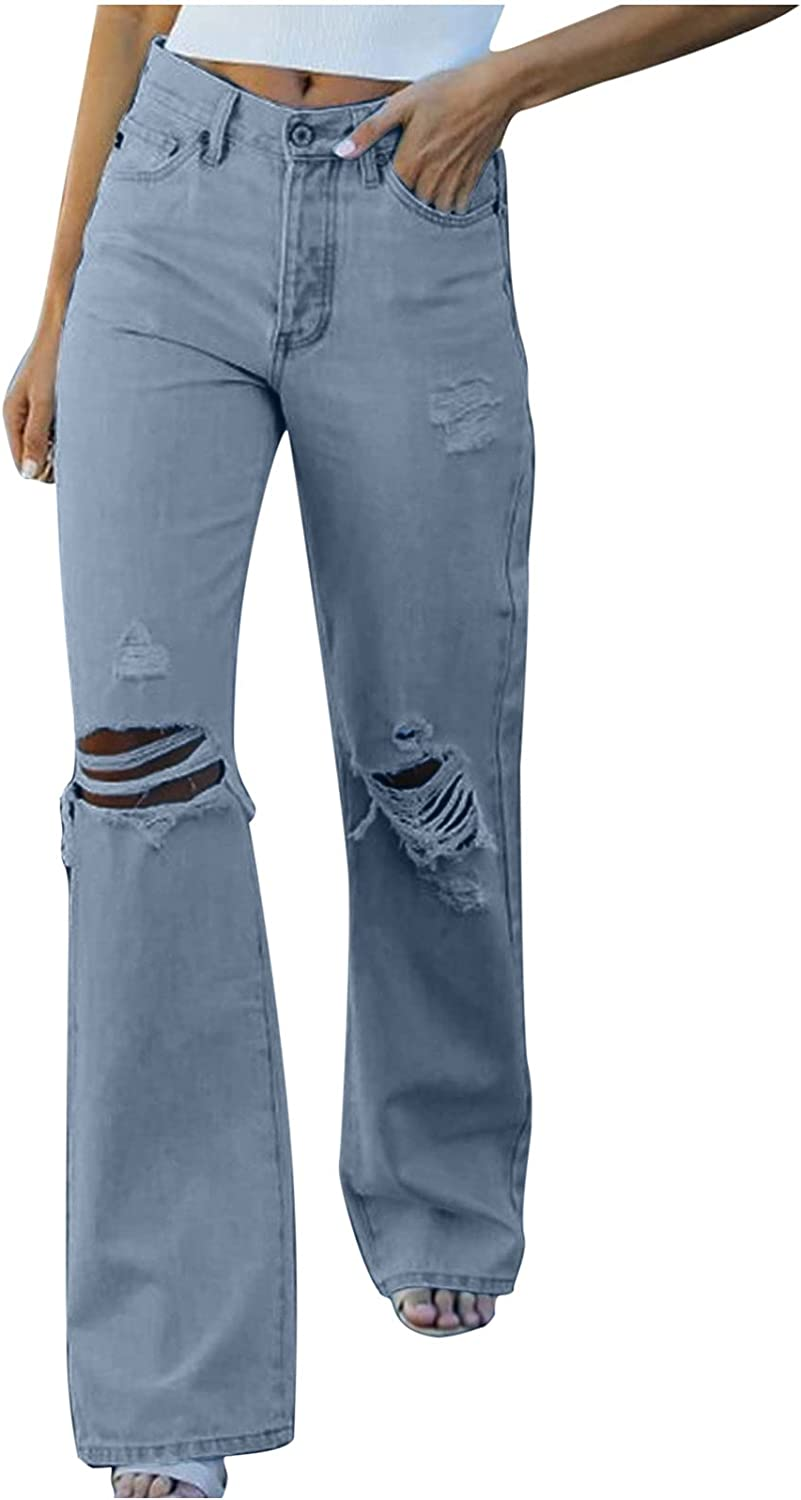 MIVAMIYA High Waisted Ripped Jeans for Women, Baggy Relaxed Fit Straight Wide Leg Y2k Casual Distressed Jeans Pants