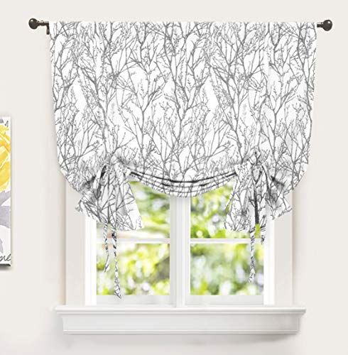 DriftAway Tree Branch Botanical Pattern Painting Tie Up Curtain Room Darkening Thermal Insulated Window Curtain Adjustable Balloon Curtain for Small Window Rod Pocket Single 45 Inch by 63 Inch Gray