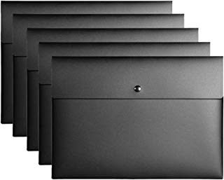VANRA Poly File Folder Pockets File Jacket Plastic Envelope Flat Document Letter Organizer with Snap Button Closure A4 Letter Size (Pack of 5, Black)