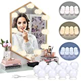 luces de espejo de tocador – 12 bombillas Hollywood Kit de DIY maquillaje LED luces ajustables 3...