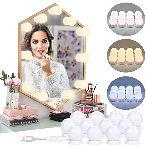 12 bombillas luces de espejo de tocador Hollywood Kit de DIY maquillaje LED luces ajustables 3 modos de color 10 niveles de brillo se adhieren cuarto de baño dormitorio alimentados por USB