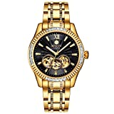 BINLUN Waterproof Automatic Men's Watch 18K Gold-Plated Luminous Black Skeleton Dial