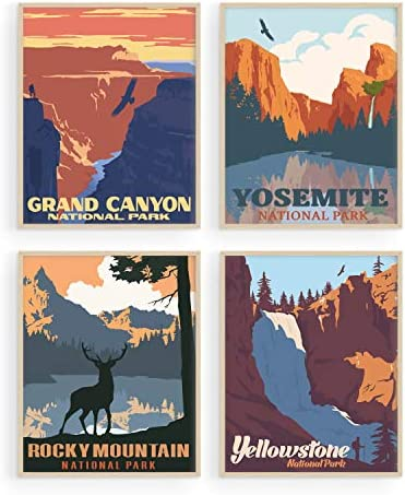 Vintage National Park Posters Set By Haus and Hues National Parks Art Prints Nature Wall Art product image
