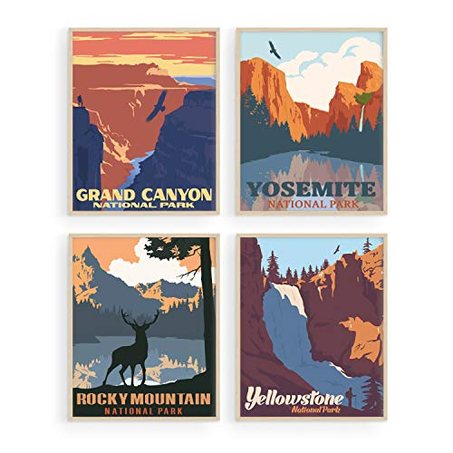 Vintage National Park Posters Set - By Haus and Hues | National Parks Art Prints Nature Wall Art and Mountain Print Set Abstract Prints of Mountain Wall Art | Mountain Decor (8'x10', UNFRAMED)