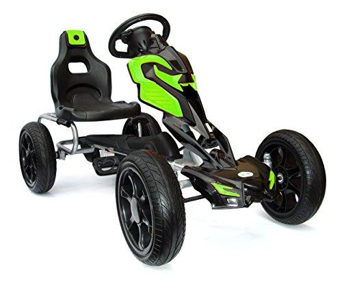 Joy 4 Kids #Scout Kinder Pedal Go-Kart, Shaum Reifen Eva Wheels 5–12 Jahre Grün