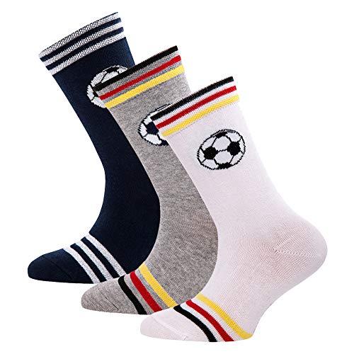 Ewers 3er Pack Kindersocken für Jungen Fussball, MADE IN EUROPE, Socken Baumwolle