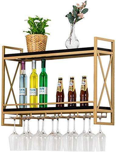 YLongFEI Wijnrek voor wanden, houten en ijzeren wijnflessenrek, opknoping van wijnglas, 2 lagen, opbergplank voor wanddecoratie.