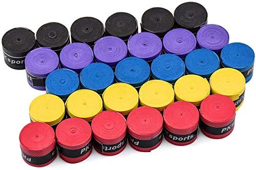 HENTEK 30 Pezzi Overgrip Tennis e Badminton, Grip Racchette Tennis di Manico di Racchetta per Anti Scivolo e Grip Assorbente - 5 Colori