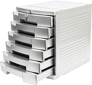 KANJJ-YU Bureau avec verrouillage Classeur A4 données Armoire de rangement Argent Tiroir Bureau Six-Countertop couche plas...