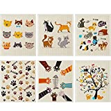 6 Pieces Mixed Cat Swedish Kitchen Dishcloths Durable Swedish Cleaning Cloths Absorbent and Fast Dry Kitchen Towels Cats Cleaning Cloths for Kitchen Bathroom Office Wedding Housewarming