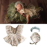 3ピース 新生児 キュート コットン ロンパース 写真小道具 ベビーレース帽子 フラワーヘッドバンド ベスト フローラル クラシック 衣装 女児 ツインズ 誕生日パーティー (12ヶ月) (グレー)