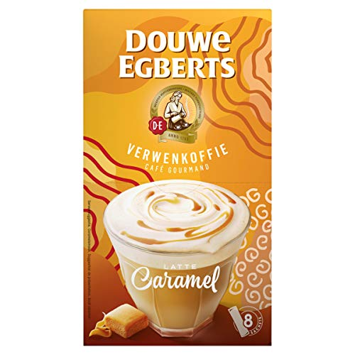 Douwe Egberts Oploskoffie Verwenkoffie Latte Caramel (80 Sachets, Instant Koffie), 10 x 8 Zakjes