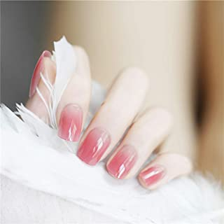 Aimimier 24Pcs French Ombre False Nails Glossy Gradient Full Cover Short Square Fake Nails with Glue Salon Clip on Fingern...
