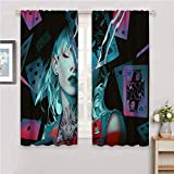 Zmcongz All Season Aislamiento Alice in Wonderland Digital Art Art Art Art Girl Fantasy Girl W54 x 39 pulgadas Set de 2 paneles de bolsillo para barra Curtian