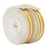 Bande de Joint I-Profil, Auto-Adhésif, Anticollision, Imperméable, Joint de porte en mousse Bande de joint d'étanchéité en caoutchouc pour Fenêtre/Porte 9mm x 2mm x 2.5m,4 joints Total 10M (White)