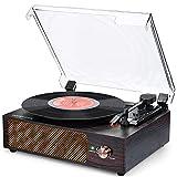 Tocadiscos Bluetooth para Discos de Vinilo Tocadiscos de vinilo vintage estéreo de 3 velocidades 33/45/78 RPM con Altavoces incorporados Puerto AUX/Auriculare/RCA Diseño Vintage con Dubierta Antipolvo