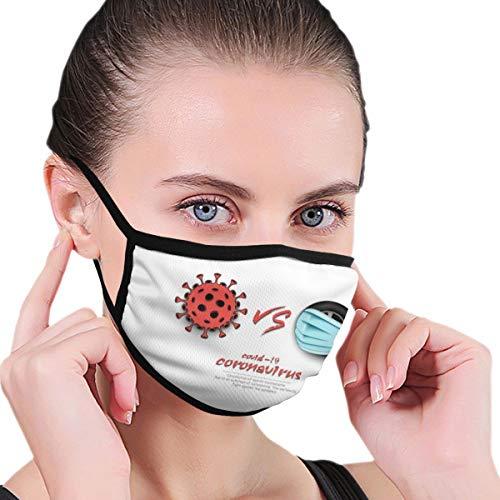 Design with Illustration Racing Vs Coronavirus Covid Face Protection Reusable Bandana 2 Layers Fabric Head Scarf Washable Neck Gaiter Earloop Black