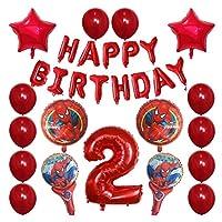 バルーン 30pcsスパイダーマンホイルの風船1 2 3 4 5 6 7 8 9歳の誕生日パーティーの装飾番号バルーンスターキッズのおもちゃ (Color : 2)