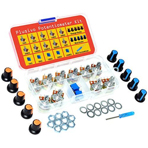Potentiometer Kit - 5pcs Multi-Turn Trimmer (1K -100K Ohm), 10pcs Single-Turn Linear Variable Resistor Pots (1k - 1M Ohm), Mini Screwdriver, Nuts, Washers, Potentiometer Assortment Kit from Plusivo