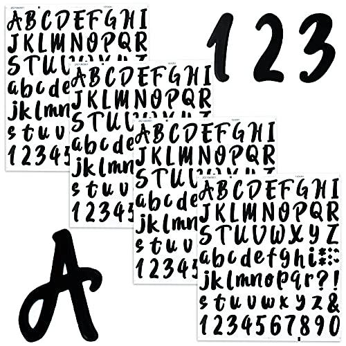 Autocollants Alphabet Lettres Stickers Chiffres Auto-Adhésif Autocollant de Numéros Gommettes pour Scrapbooking A à Z (4 Feuilles)