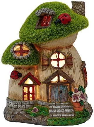 TERESA S COLLECTIONS Flocked Big and Mini Mushroom Fairy Garden House Statue Outdoor Fairy House product image