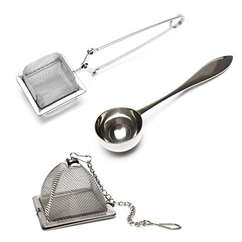 VAHDAM, Set di 2 infusori e 1 cucchiaino da tè |100% acciaio inossidabile | 2 infusore tè e cucchiaini da caffè | infusore tisana | filtro per tisane | infusore te | infusore the | tea strainer