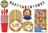 Building Blocks Birthday Party Supplies and Decorations, Brick Blocks Theme Disposable Tableware Set, Kids Party Dining Kit, Birthday Parties Decor, Children Birthday Party Supplies Kit Set