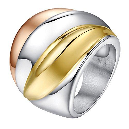 UM Joyería Mujer Acero Inoxidable Amplio Anillos Oro Plata Oro Rosa Tres Tonos Banda 24Mm