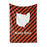 Personalized Corner Cleveland Ohio Fleece Throw Blanket - Custom State Pride Series Blankets Extra Large Warm Throws for Family Football Watching