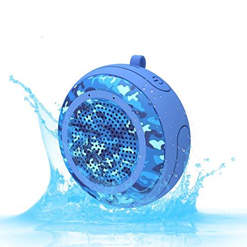 J.W. Mini-Bluetooth-Lautsprecher, Schwimmende IPX7-Wasserdichte Außendusche Pool Tiefer Bass Mono Drahtlose Bluetooth TWS-Funktion TF-Lautsprecher, 5 Stunden Spielzeit,Blue