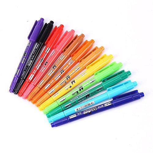 Permanentmarker mit zwei Spitzen, 12 Farben, feine und breite Spitzen, Permanent-Marker, Zeichnen, Schreiben