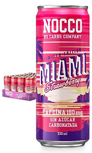 NOCCO BCAA Fresa (Miami) 24 x 330ml Bebida energética funcional sin azúcar No Carbs Company Enriquecida con vitaminas Con o sin cafeína Bebidas funcionales de sabores para la salud
