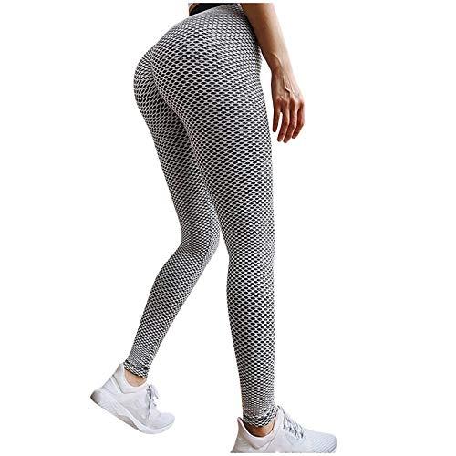 Famous TIK Tok Leggings, Women Butt Lifting Yoga Pants High Waist Tummy Control Bubble Hip Lift Workout Stretchy Sport Tights(Gray,L)