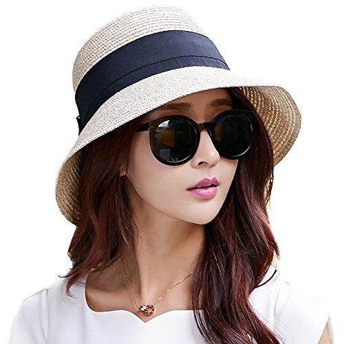 Siggi Womens Floppy Summer Sun Beach Straw Hats Accessories Wide Brim Foldable...
