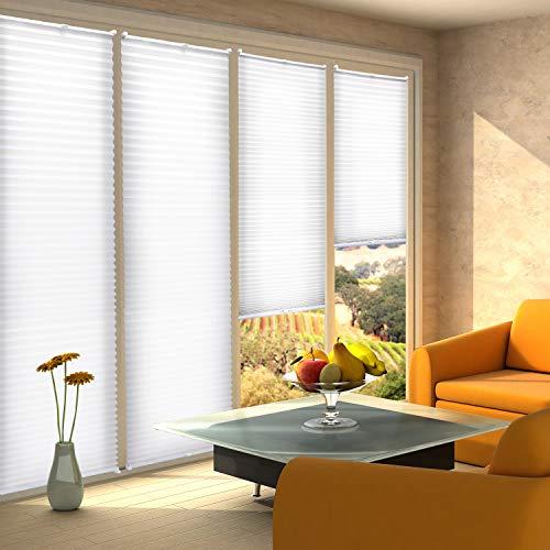 KINLO 75x130cm Weiß Jalousien Plisse Rollo Sonnenschutzrollo für fenster Tür ohne bohren Klemmfix Blickdicht Vorhänge mit Klemmträger